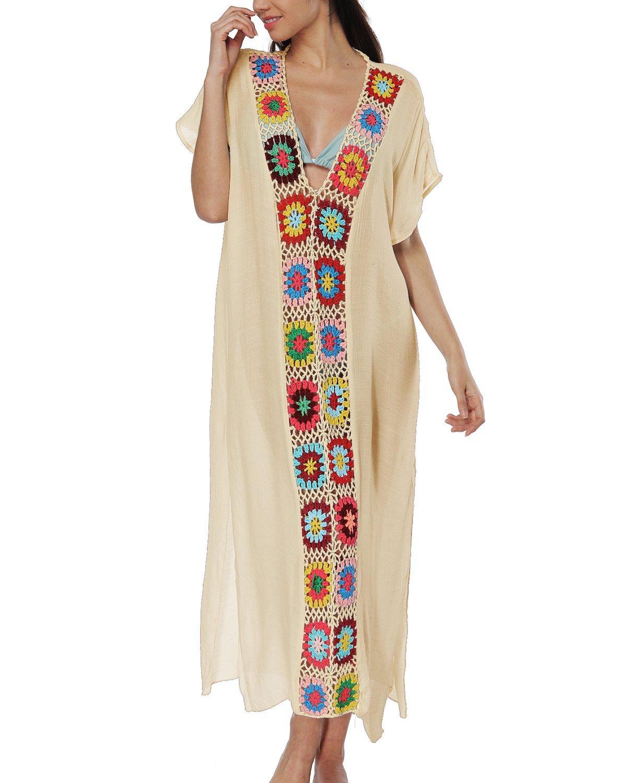 sankill Women's Swimwear Cover Ups Long Beach Dresses V Neck Cotton Tassel Crochet Bikini Cover up (Beige)