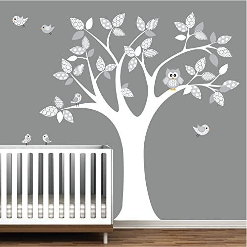 Amazon.com: Pattern Tree Decal-Owl Wall Decals-Wall Stickers-Nursery ...