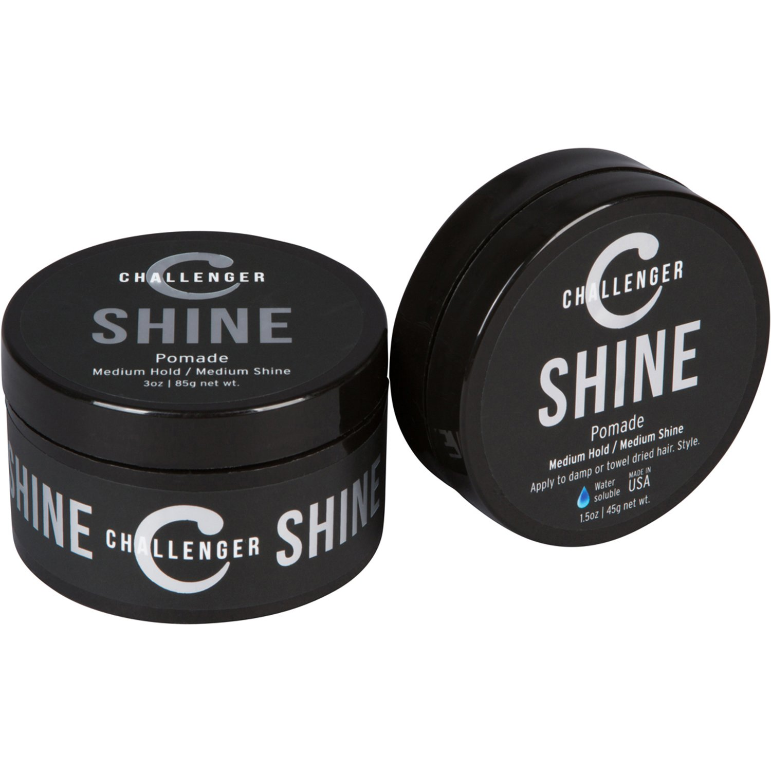 Combo Pack - 1.5OZ + 3OZ Shine Pomade - Medium Hold & Shine - Best Styling Pomade - Water Based, Clean & Subtle Scent, Travel Friendly. Hair Wax, Fiber, Clay, Paste, and Cream, All In One Challenger