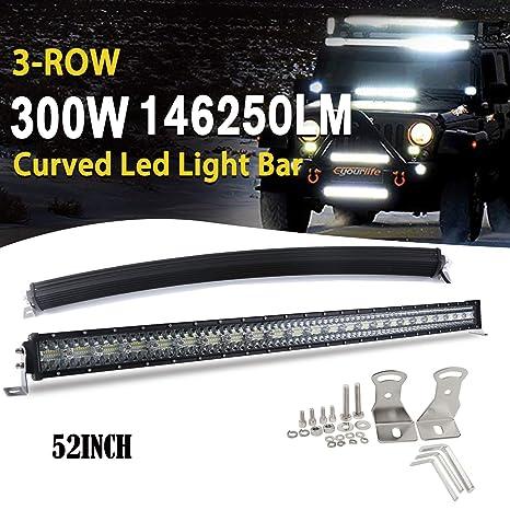 obra 4x4 SUV 24 V 52inch//132cm etc /… 12 V BraveWAY para cami/ón quad Barra de luces LED combo de tres filas