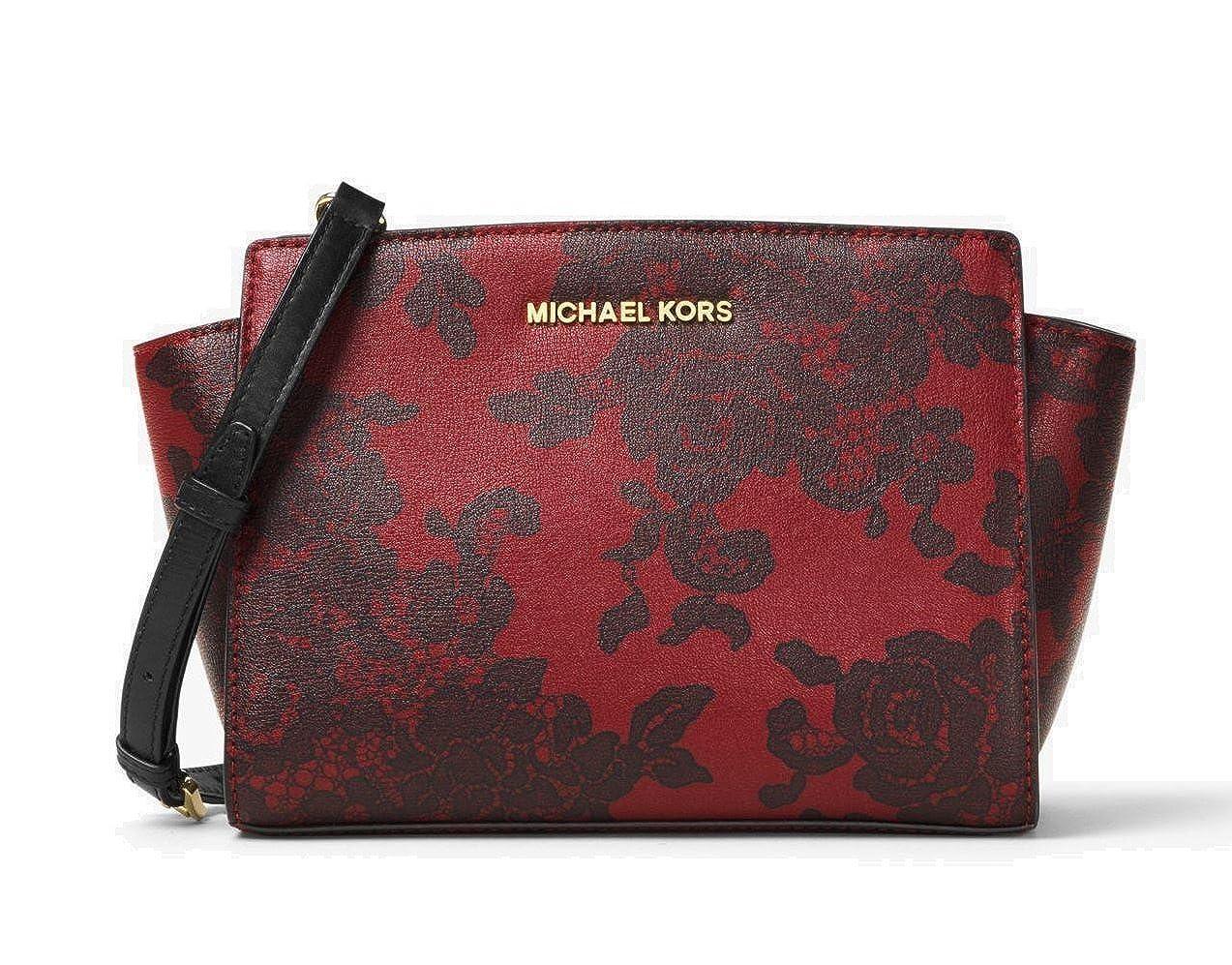 4e68bf6e1fb984 Amazon.com: MICHAEL Michael Kors Selma Medium Lace-Print Leather Messenger  Bag, Cherry: Shoes