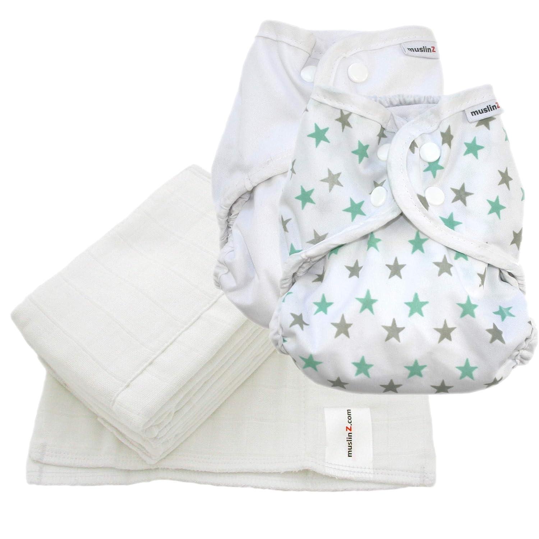 Size 1 White//Print MuslinZ Re-Usable Washable Cloth Nappy Wrap Bundle