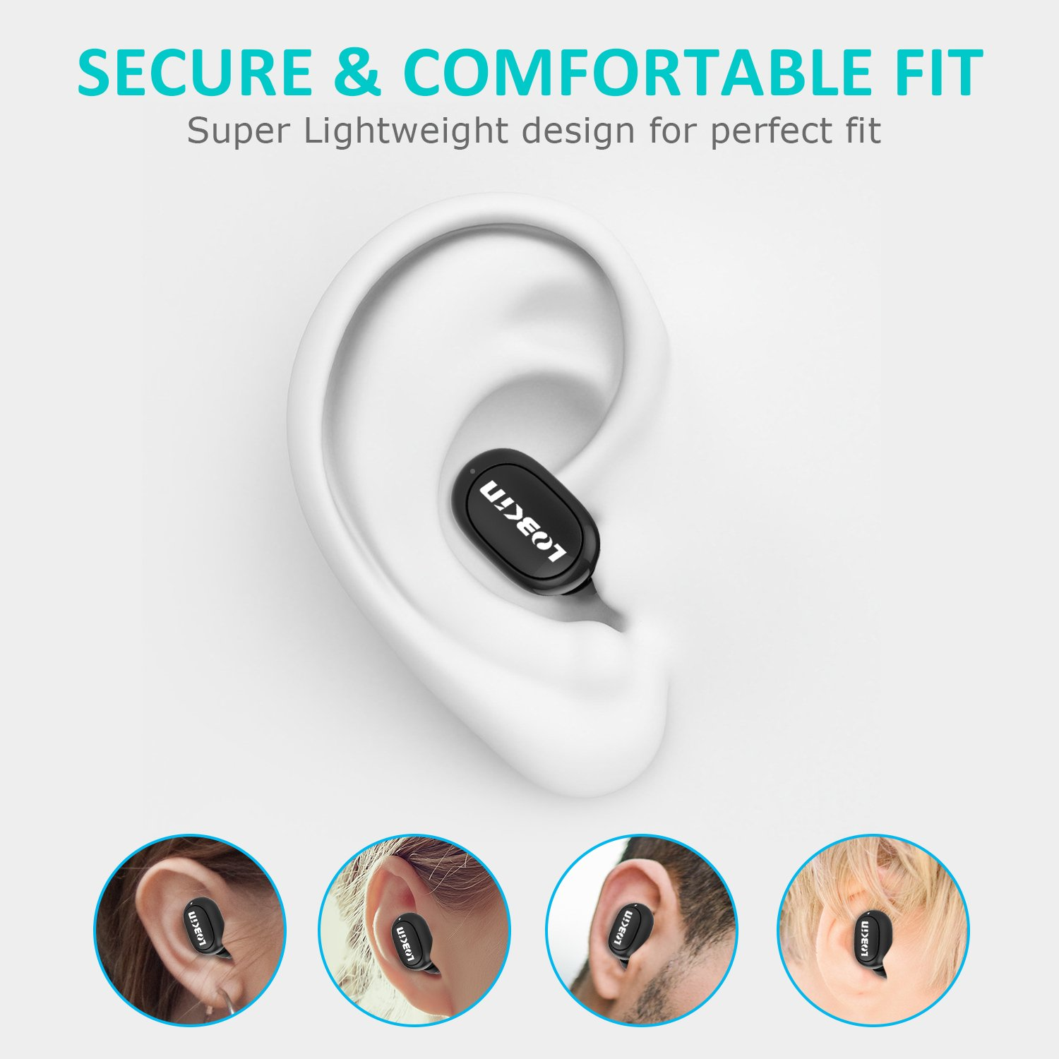 Lobkin Bluetooth Headsets,Mini Earbuds Smallest Wireless Headphones with Mic,In-Ear Earphones for Running - Black
