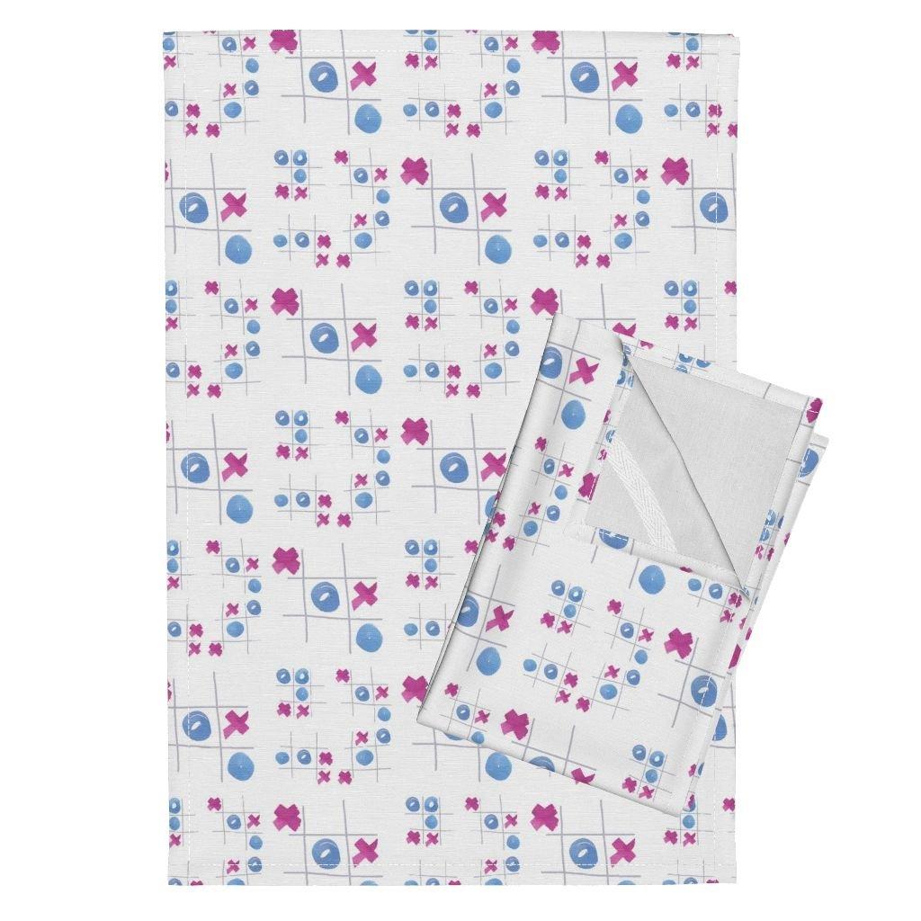 Roostery Games Tea Towels Cestlaviv Tic Tac Toe by Cest La Viv Set of 2 Linen Cotton Tea Towels