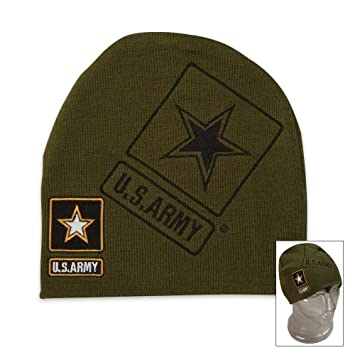 3f9ca5f0480 Amazon.com  Capsmith Embroidered United States Army Officially Licensed Army  Green Beanie Winter Stocking Cap Hat Star Logo  Sports   Outdoors