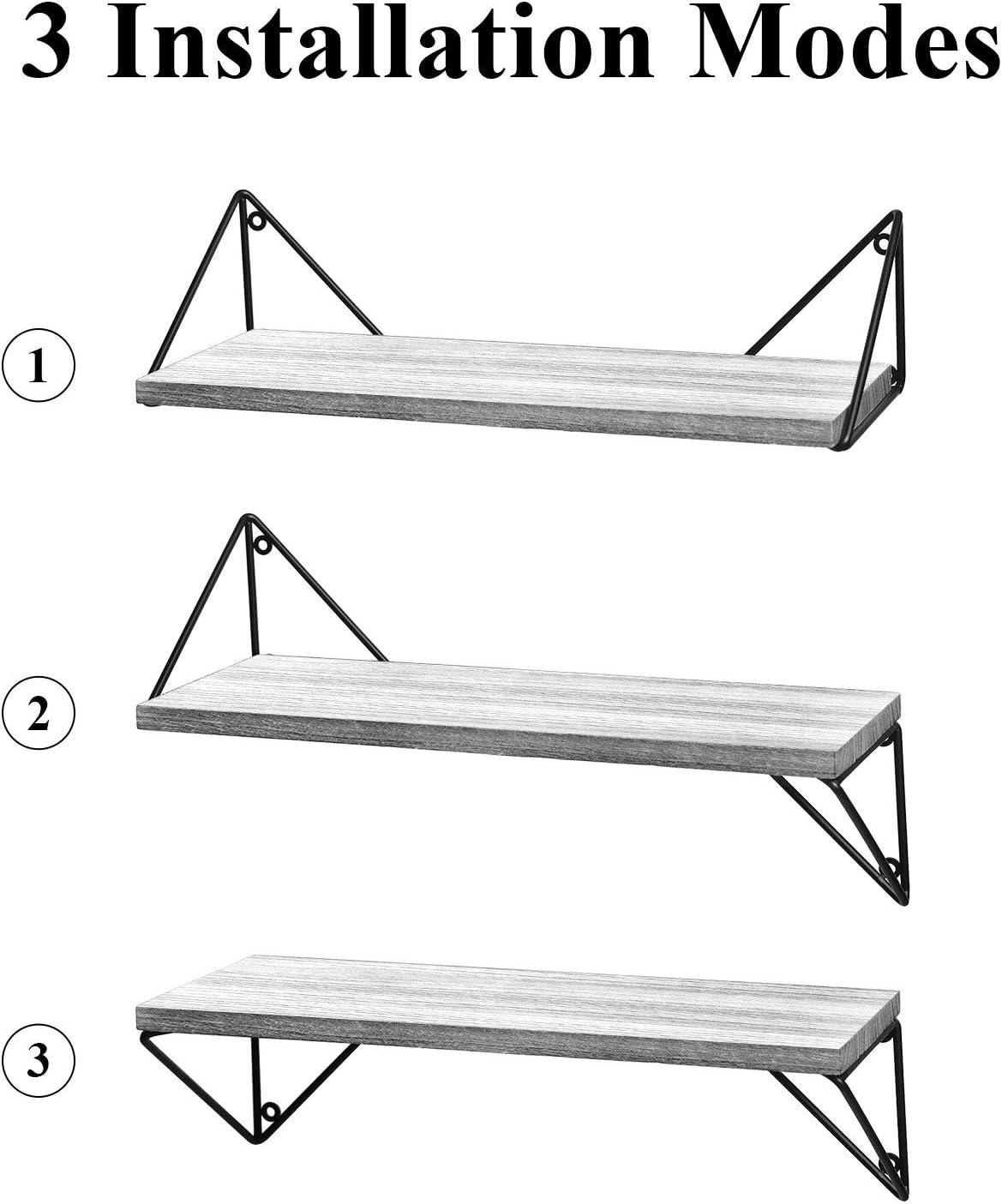 BAYKA Floating Shelves Wall Mounted Set of 3, Rustic Wood Wall Shelves for Living Room, Bedroom, Bathroom Gray: Home & Kitchen