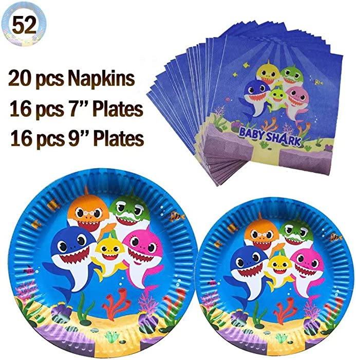 Baby Cute Shark Themed Party Supplies Set - Party Plates and Napkins Thickened and Waterproof of Surface Coating Disposable Tableware Set for Boys Girls Kids Birthday