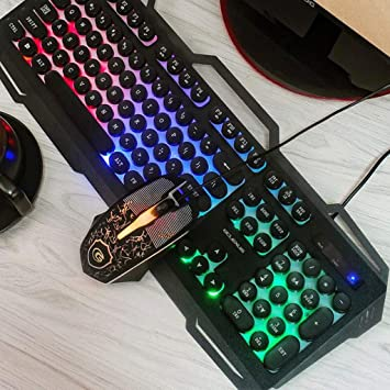Metal Panel Breathing LED Optical Mouse Gaming Keyboard and Mouse Combo Mechanical Feel Color : Black USB Wired Game Keyboard
