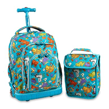 J World New York Lollipop Kids' Rolling Backpack with Lunch Bag, Aniphabets