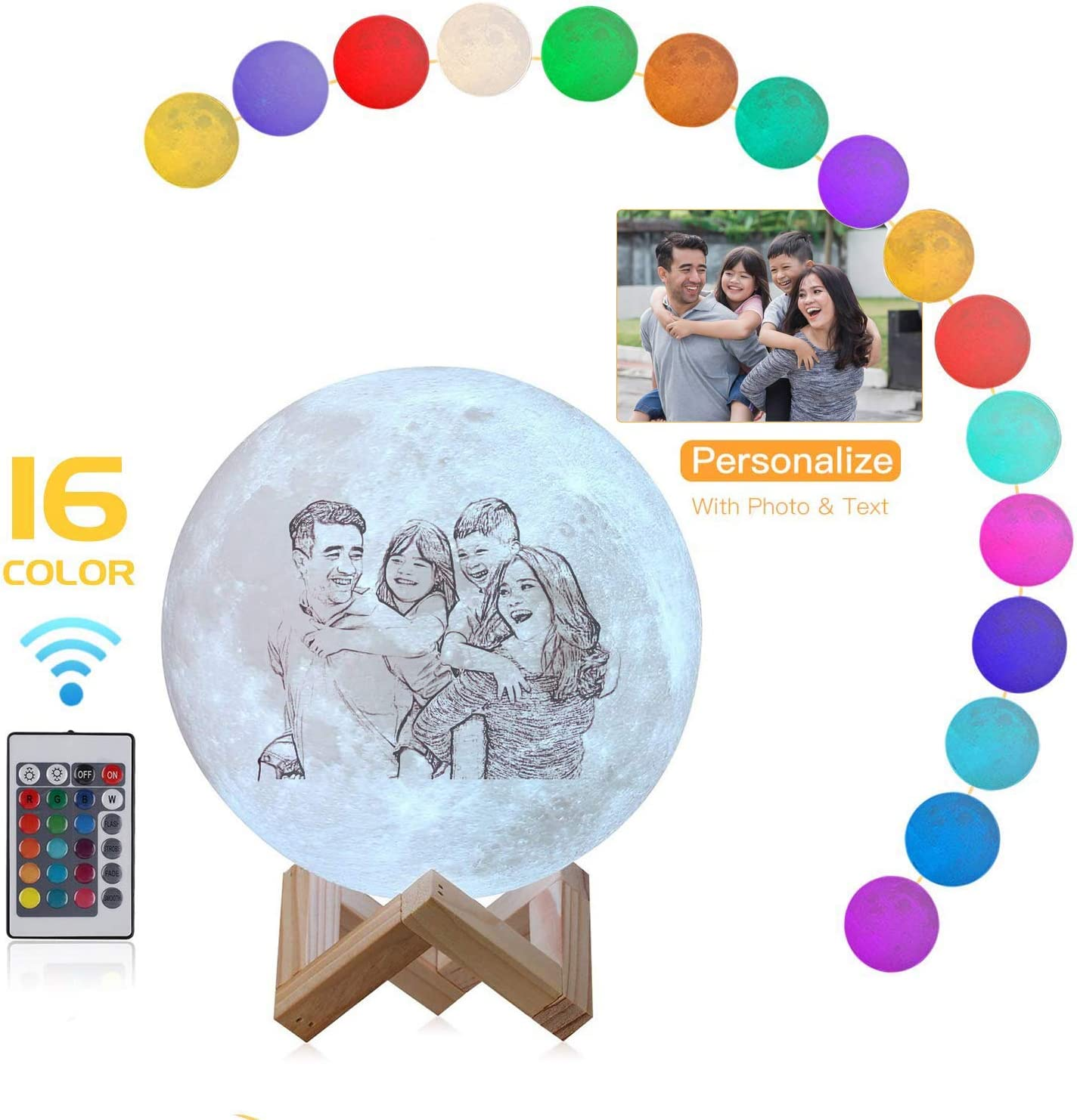 Foto personalizada Luna 3D Lámpara Nombre personalizado 16 colores Control remoto Luz de noche para niños Madre Día del padre Pareja Regalo de Navidad 5.9 '' (15 cm)