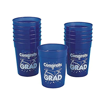 "Fun Express - Blue""congrats Grad"" Plastic Cup for Graduation - Party Supplies - Print Tableware - Print Cups - Graduation - 12 Pieces: Toys & Games"