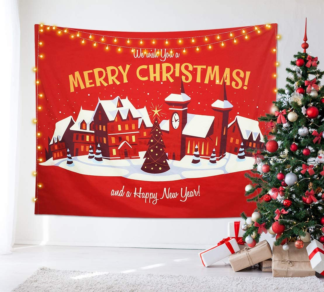 "Dremisland Christmas Wall Tapestry Merry Christmas Tapestry Fairy Tale Wall Hanging Wall Decor for Christmas and New Year 's Decoration (L:80""X60"")"