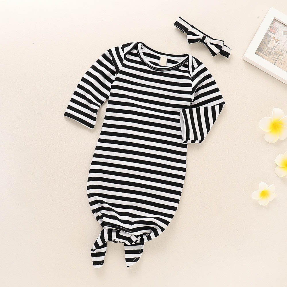 Oldeagle Newborn Infant Baby Long Sleeve Pajamas Striped Sleeping Swaddle Wrap Outfit Set for Winter
