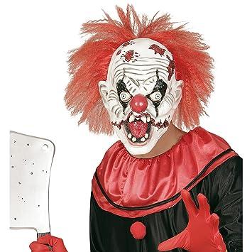 Careta terrorífica de payaso Máscara bufón loco con pelo Antifaz arlequín Halloween Mascarilla látex IT Accesorio