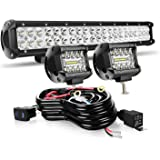 20 Inch LED Light Bar 126W Spot Flood Combo LED Bar 2PCS 4Inch Spot Pods Cubes with Rocker Switch Wiring Harness for…