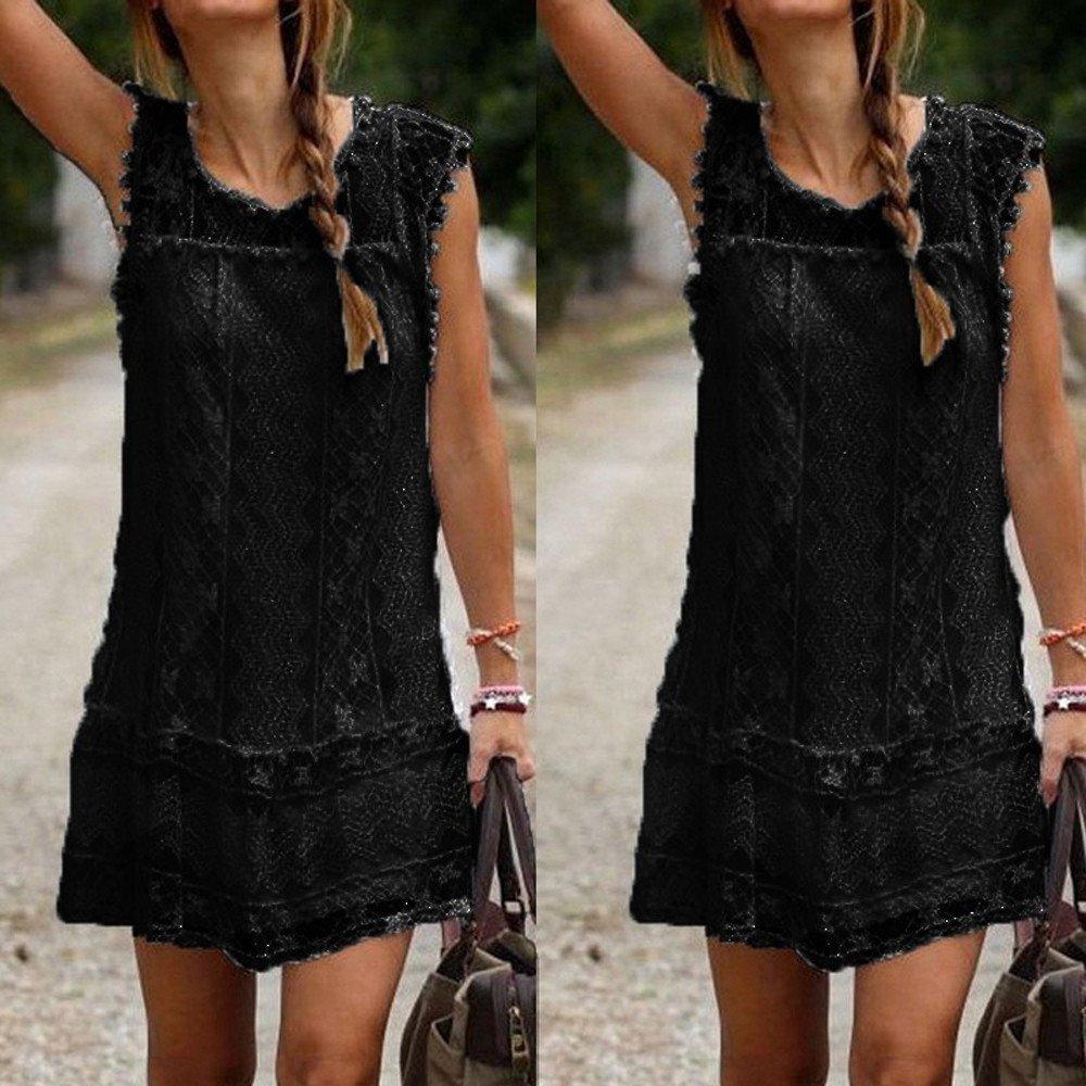 SEWORLD Kleid Damen 2018 Frauen Partykleid Mode Elegant Spitze /ärmellos Sommerkleid Beil/äufige Sleeveless Strand Kurzschluss Kleid Troddel Minikleid