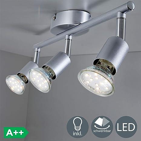 BKLicht Lámpara de Techo Orientable, de Cocina, Focos Giratorios, Incluye 3 Bombillas de 3 W GU10, 230 VI IP20, Plata