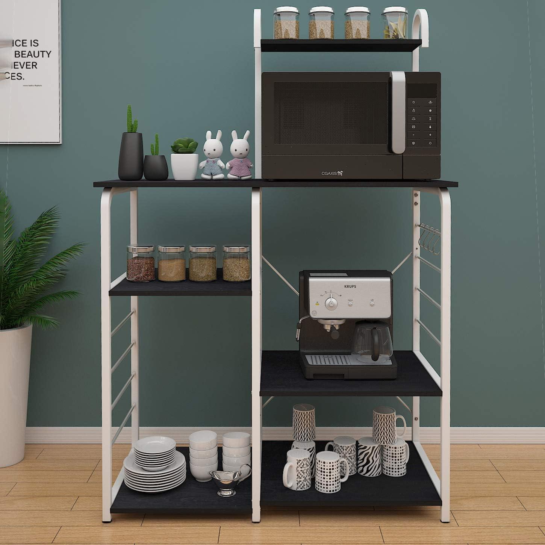 Black SDHYL Microwave Oven Rack Kitchen Bakers Rack Storage Cart ...