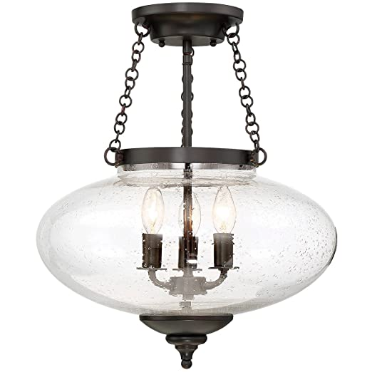 Amazon.com: Semi Flush Luz de 3 con acabado de bronce en ...