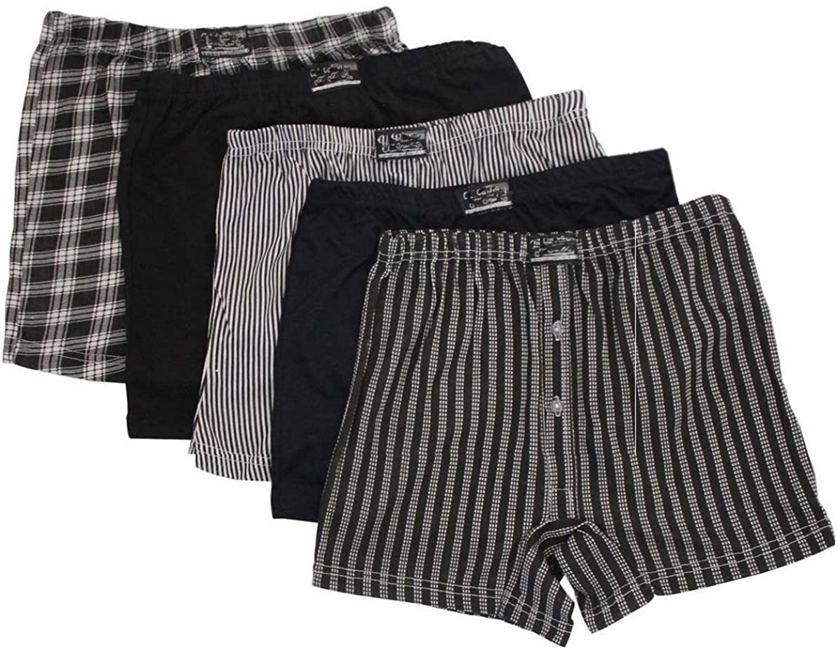 FF11 6 or12 Pack Boys Classic Cotton Jersey Boxer Shorts Ages 2-13 Years Check FLAVES FASHION