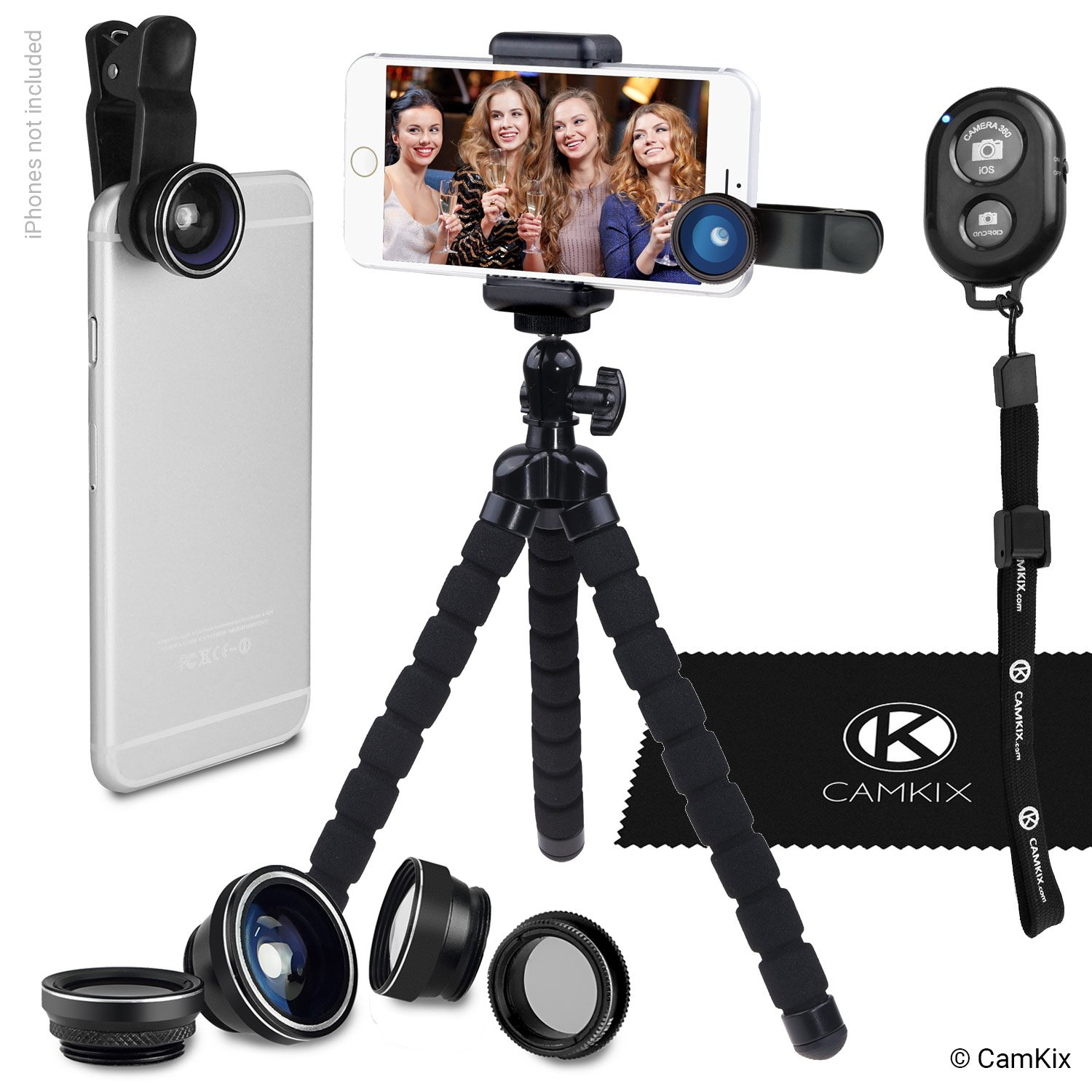 Smartphone Photography Kit - Flexible Cell Phone Tripod, Bluetooth Remote Control Camera Shutter and 5in1 Lens Kit - Universal Octopus Pod - Telephoto, CPL, Fish Eye, Macro and Wide Angle Lens CamKix D0280-ULK-FS5