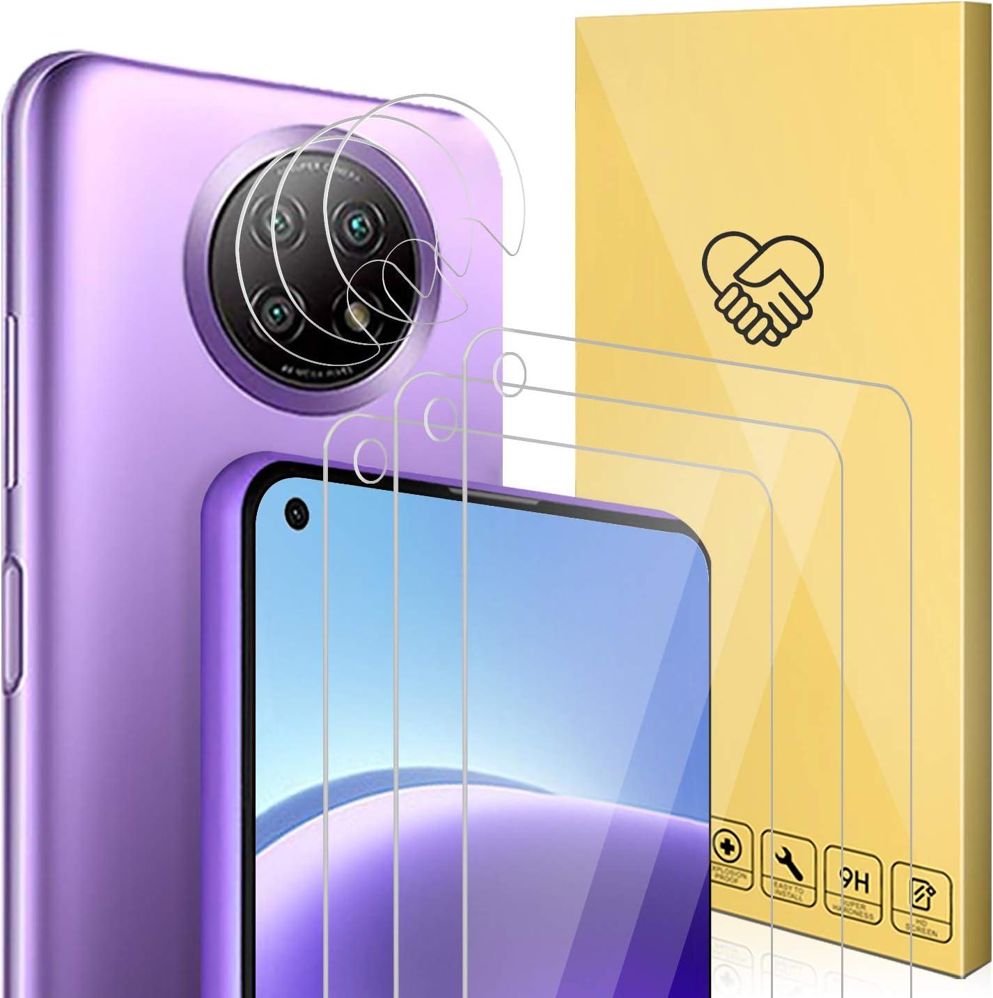 ANEWSIR Cristal Templado Compatible con Xiaomi Redmi Note 9T 5G,3 Pack Protector de Pantalla y 3 Pack Protector de Lente de cámara -2021 New