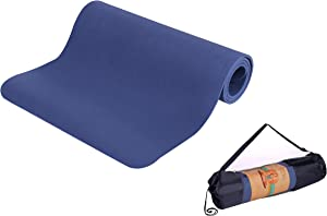Jue DIBALA Non-Slip Profession Yoga Mats,Extra Thick High Density Padding,Eco Friendly TPE Material High Resilience Fitness & Exercise Mats with Carrying Strap-for Yoga, Pilates and Gymnastics