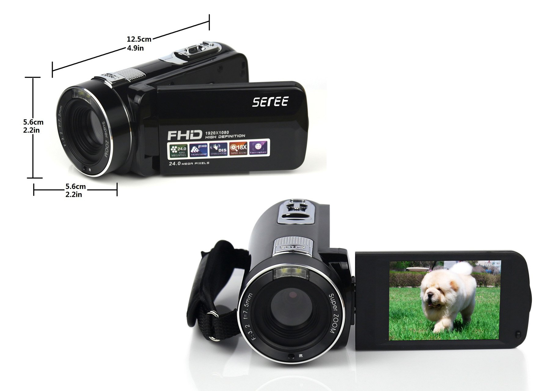 SEREE HDV-M6 Full HD 1080P Beauty Face Max. 24MP DIS Face Detection Elegant Appearance Self Timer Camcorder FHD Video Camera (HDV-M6) by SEREE (Image #2)