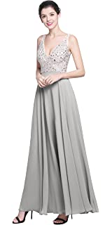 771f3c6d7dc4 QSYE Women's Beaded Prom Dreeses Long V-Neck Chiffon Evening Gowns 2018
