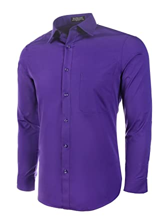 Amazon.com: Marquis camisa de vestir ajustada manga larga de ...