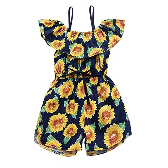 YOUNGER TREE Kids Baby Girls Summer Outfit Off-Shoulder Sunflower Overall Jumpsuit Romper