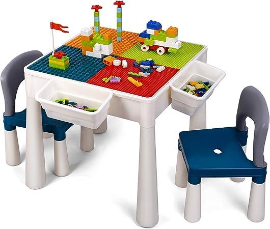 amzdeal Juego de Mesa y 2 Sillas Infantiles Mesa de Bloques para Niños Mesa de Actividades