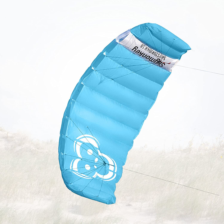 Skymonkey Skystormer 1.8 Parafoil Cometa acrobática Ready 2 Fly- 180 cm [Azul]