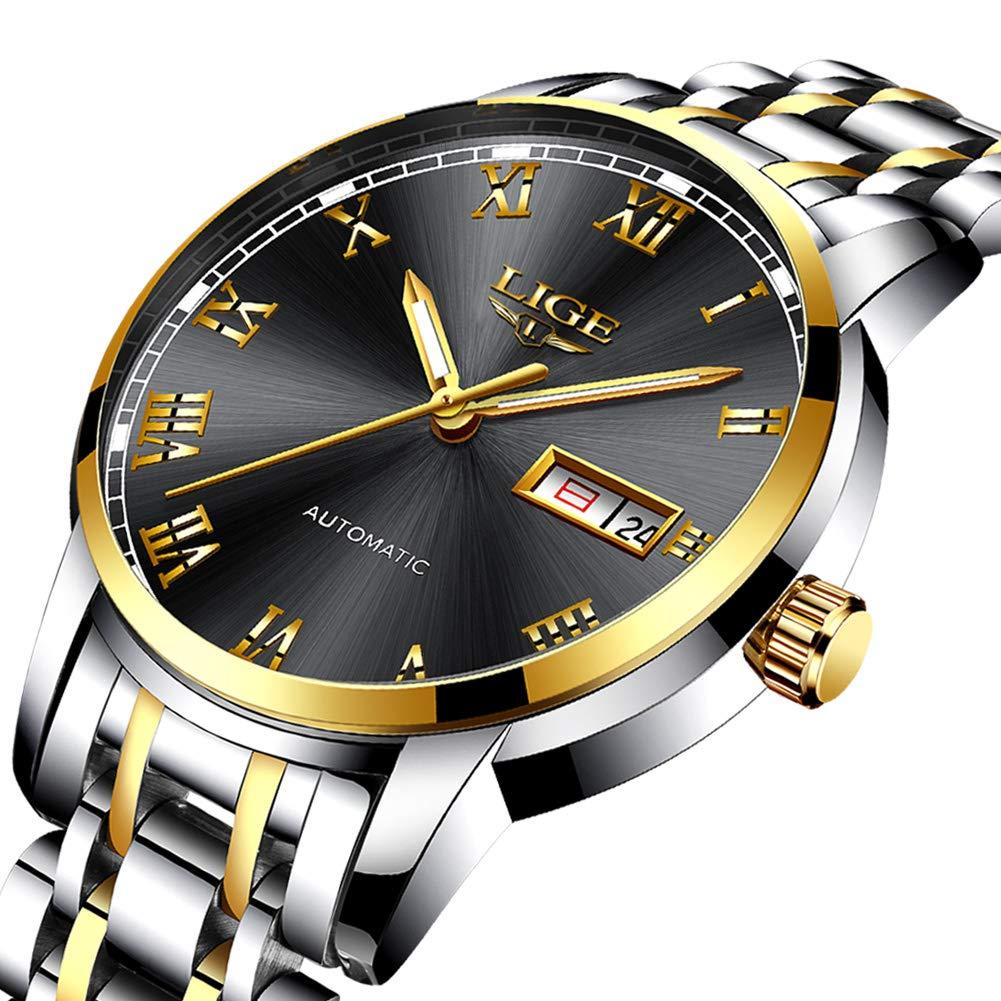 LIGE Men s Stainless Steel Waterproof Sport Analog Quartz Watch Gents Blue Dial Date Fashion Casual Dress Wrist Watches