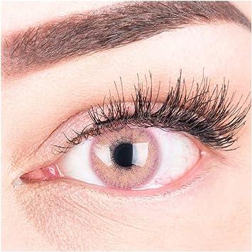 GLAMLENS lentillas de colores rosa Jasmine Pink + contenedor. 1 par (2 piezas) - 90 Días - Sin Graduación - 0.00 dioptrías - blandos - Lentes de contacto rosa de hidrogel de silicona: Amazon.es: Salud y cuidado personal