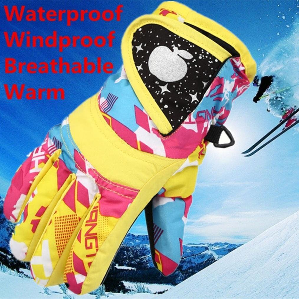 para hacer esqu/í snow snowboard mantienen el calor t/érmicos para deportes en exteriores impermeables y resistentes al viento Guantes de esqu/í Gusspower para ni/ños