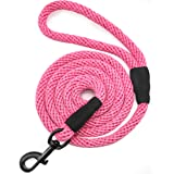Mycicy 6 FT Cotton Rope Dog Leash, Strong Braided Lead Leash Multi-Colors Soft Pet Leash for XSmall Small Medium Large…