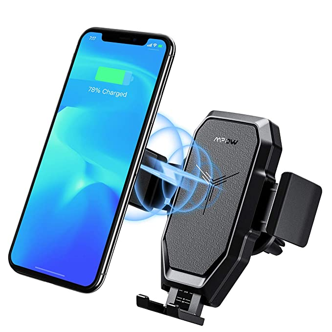 Mpow Qi Cargador Inalámbrico Coche, Carga Rápida Qi, Soporte Móvil Coche para Rejilla, para iPhone 8/8P/X/XS/XR/XS MAX, Samsung Galaxy S9/S9+, ...