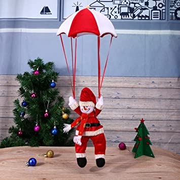 Christmas Decor Santa Claus Parachute Pendant Xmas Tree Hanging Ornaments 02