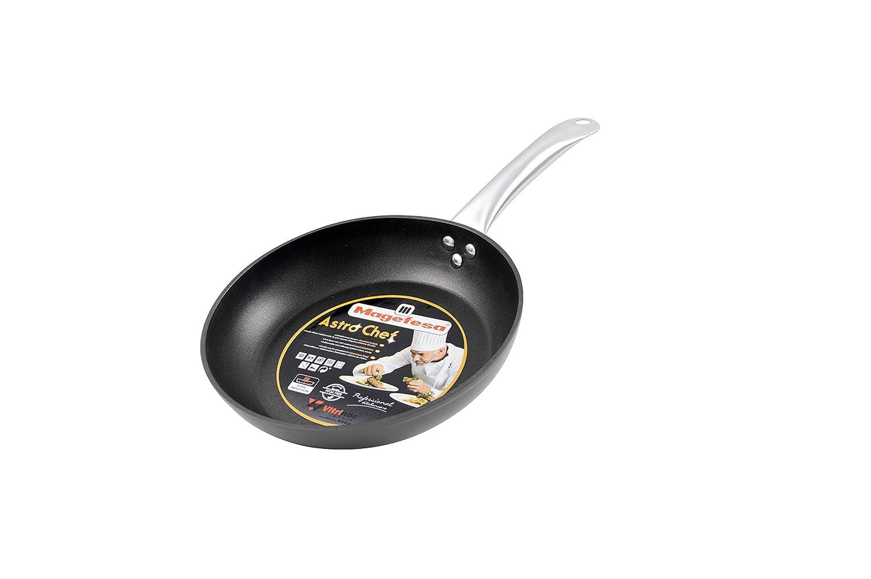 Magefesa Astro Chef Sartén 22 cm de Aluminio Forjado. Mango Profesional Acero Inoxidable. Fondo Full Induction, Negro: Amazon.es: Hogar