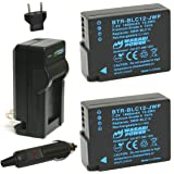 Wasabi Power Battery (2-Pack) and Charger for Panasonic DMW-BLC12 and Leica BP-DC12, BP-DC12-U, 18729, Leica V-Lux 4, V…
