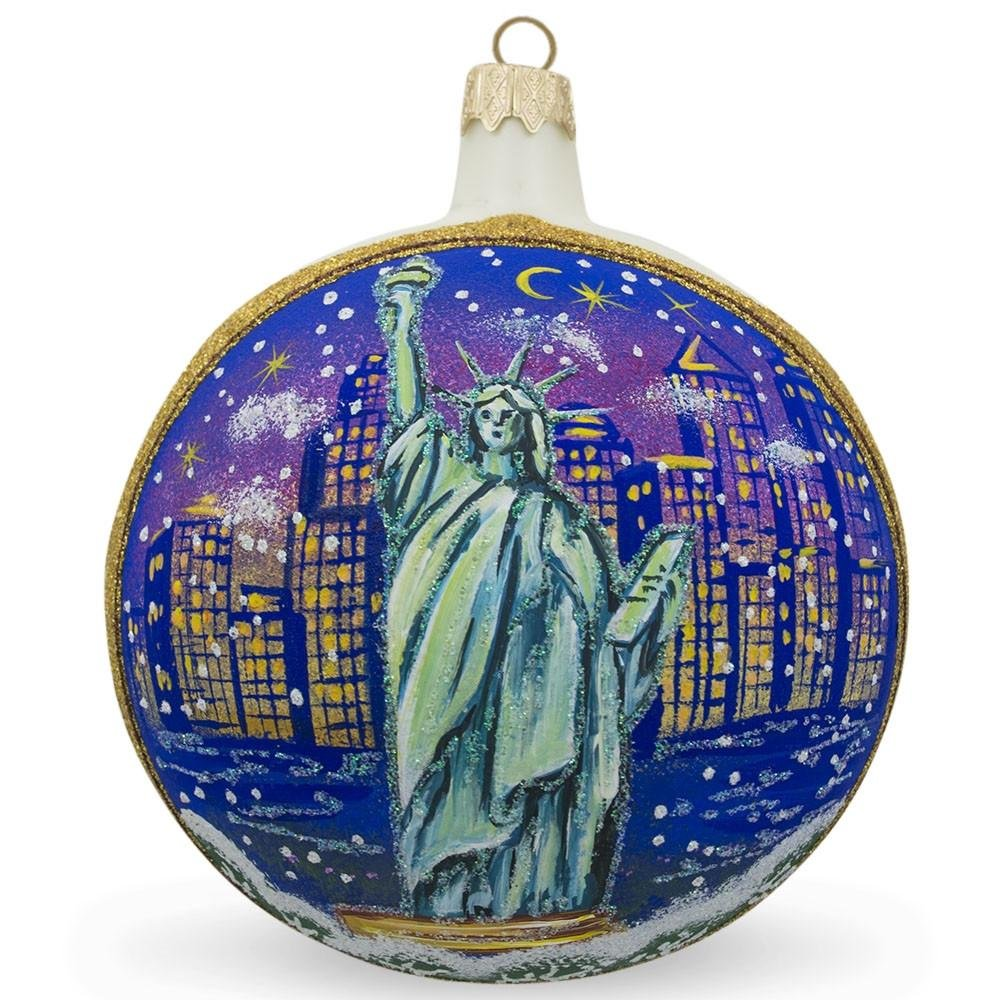 BestPysanky 4'' Statue of Liberty Skyline at Night, New York, USA Glass Ball Christmas Ornament