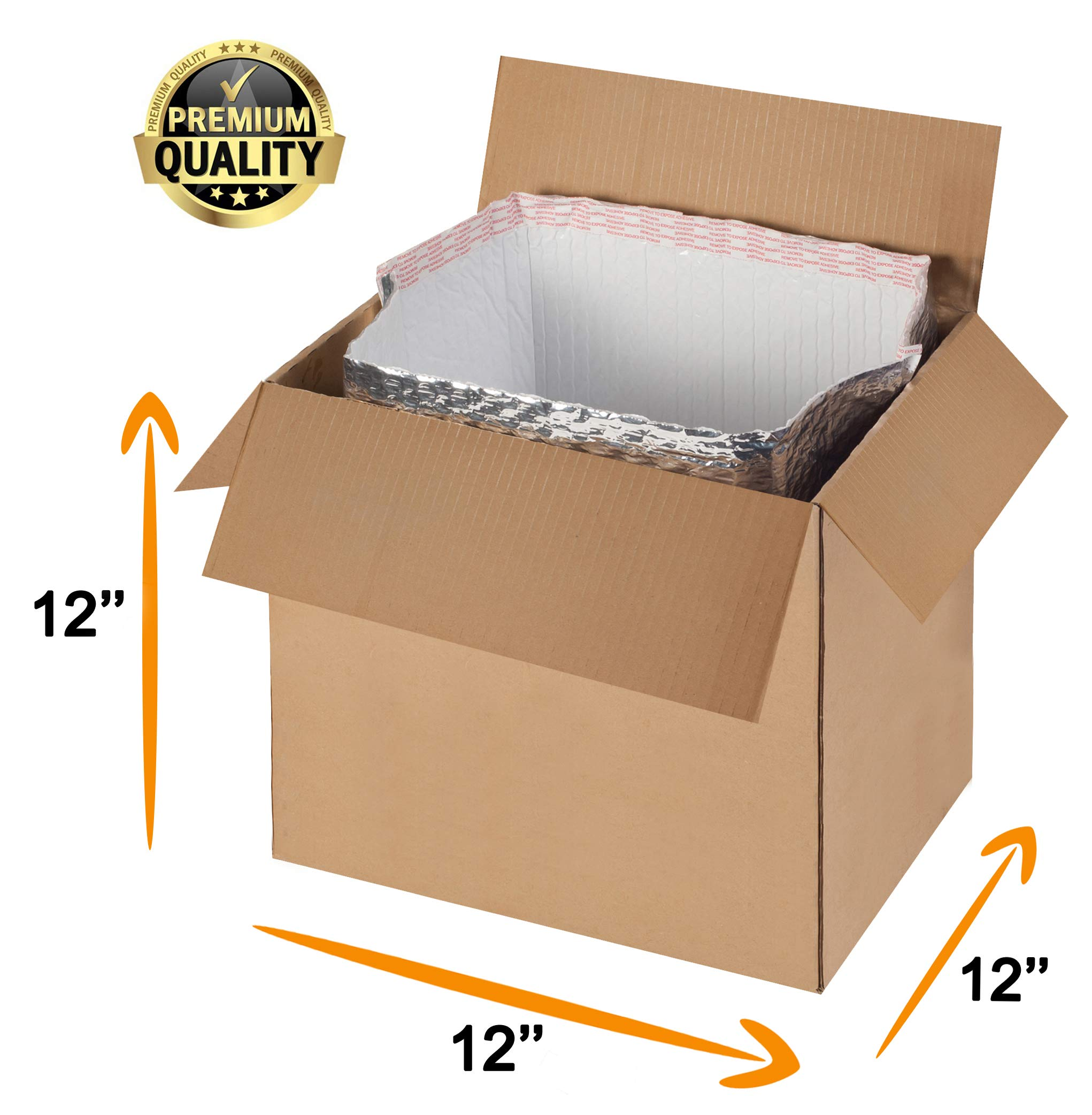 Pack of 5 Thermal Bubble Box Liners. Box Size 12 x 12 x 12. Gusseted Bottom Liners. Insulated Liners for Shipping Temperature Sensitive Products. Leak Resistant. Wholesale Price. by ABC Pack & Supply (Image #2)