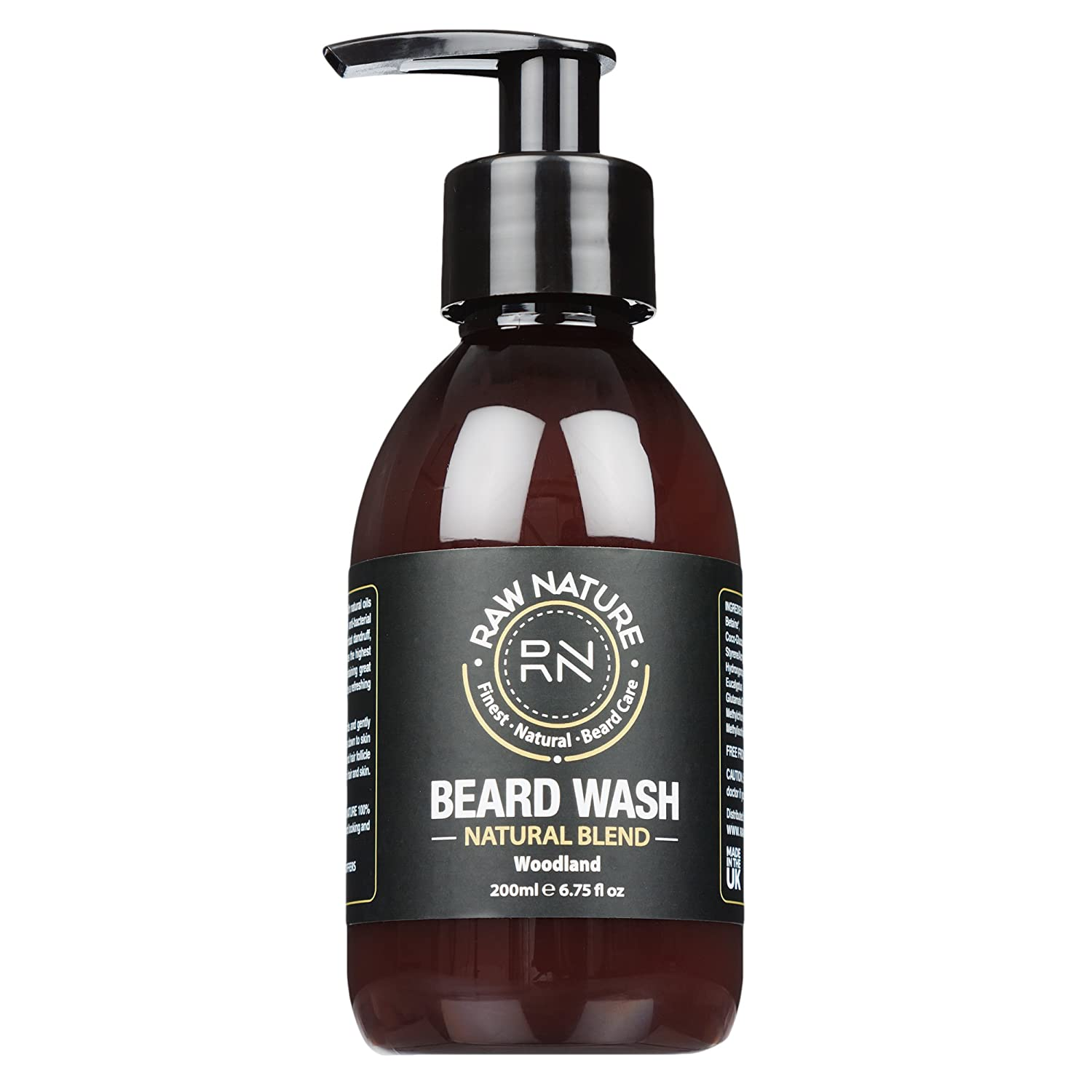 RAWNATURE® Beard Shampoo – Premium Luxury Grade - XL 200ml Beard Wash, 98% Naturally Derived - blended in the UK for Healthy Growth, Conditioner and Nourishment of Beard and Skin - Perfect Gift