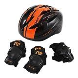 DOPPELGANGER キッズヘルメットセット[ヘルメット・肘/膝/手首プロテクター4点セット] ヘルメット重量:約195g 頭周囲:約51~55cm [対象年齢目安:3歳~8歳] 安全基準合格品/子供用自転車プロテクター DFP183-BK