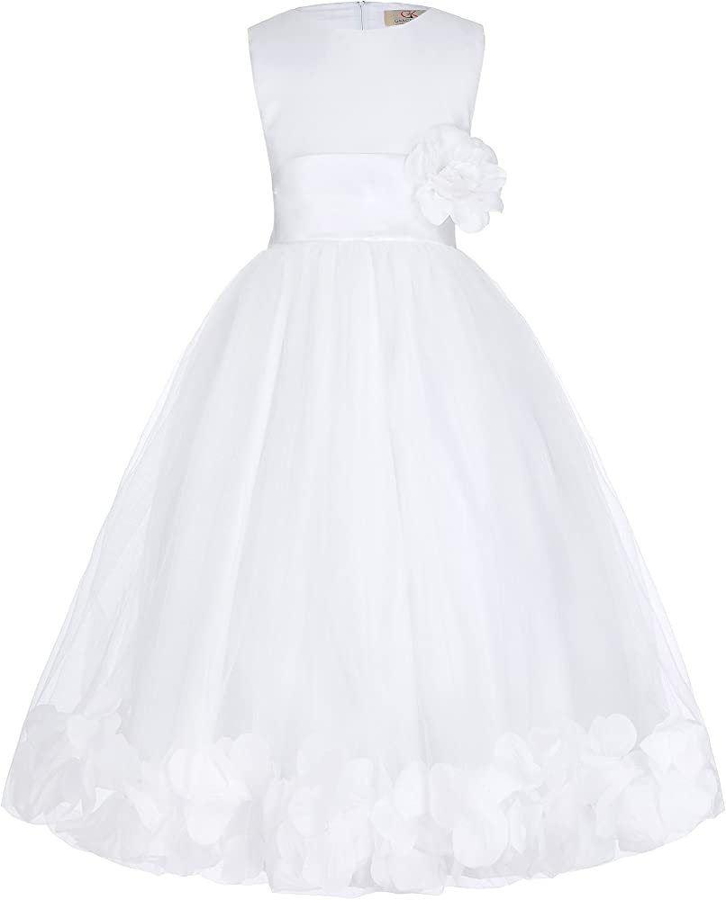 GRACE KARIN Niñas Vestido Largo Elegante de Princesa con Flores para Dama de Honor Fiesta de Boda Bautizo