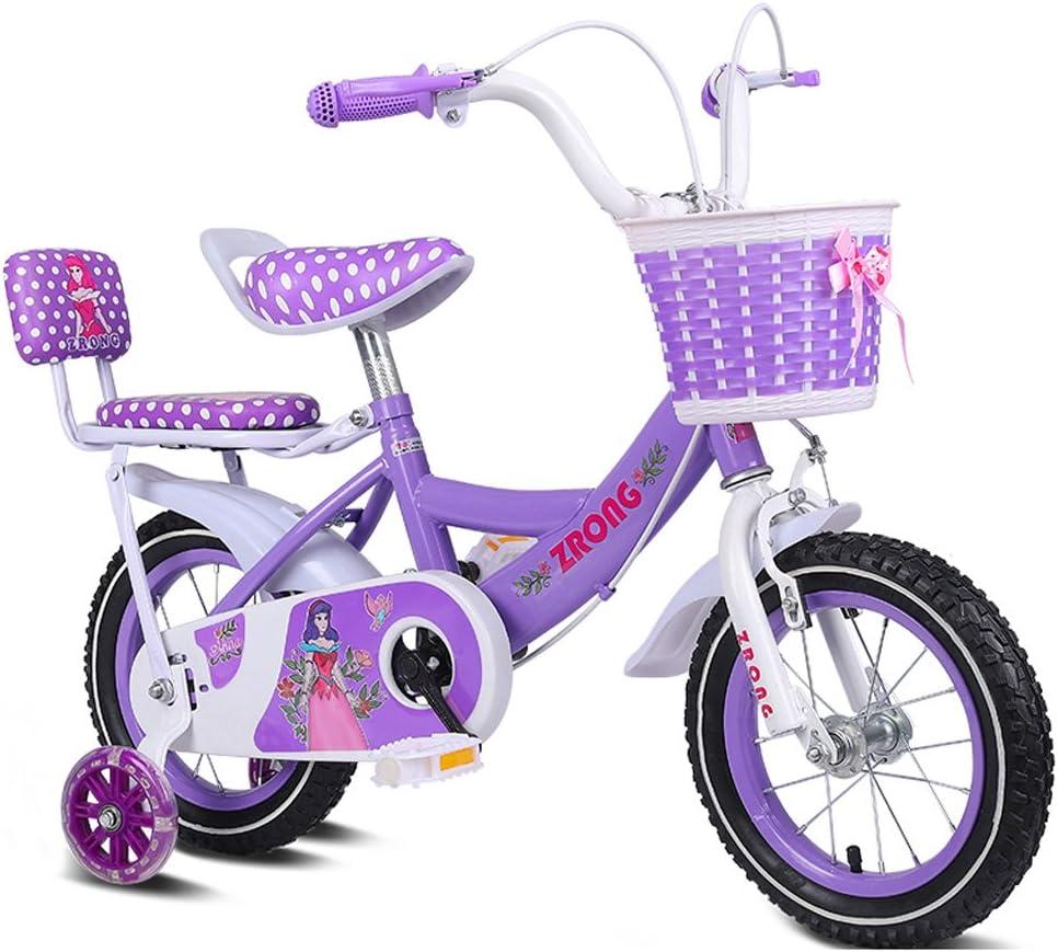 GLJJQMY Bicicletas para niños Bicicletas para niñas de 16 Pulgadas Bicicletas para niños de 4 a 7 años de Edad Bicicletas de Acero con Alto Contenido de Carbono, Rosa/púrpura/Azul