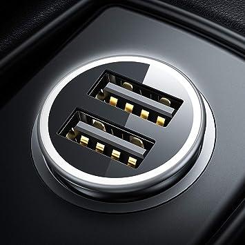 Cargador de Coche con Doble USB Puerto Cargador Móvil 4.8A/24W [Todo Metal] [Indicador de Estado del Voltaje del automóvil] Adaptador Automóvil con ...
