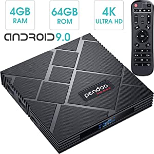 pendoo Android 9.0 TV Box 4GB RAM 64GB ROM, X10 MAX Android TV Box RK3318 Quad-Core 64Bits Dual WiFi 2.4G / 5G Bluetooth 3D 4K Ultra HD H.265 USB 3.0 Android Box: