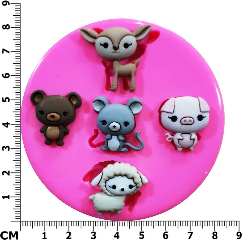 Granja Buddies diseño de oveja Pig ratón oso molde de silicona ...